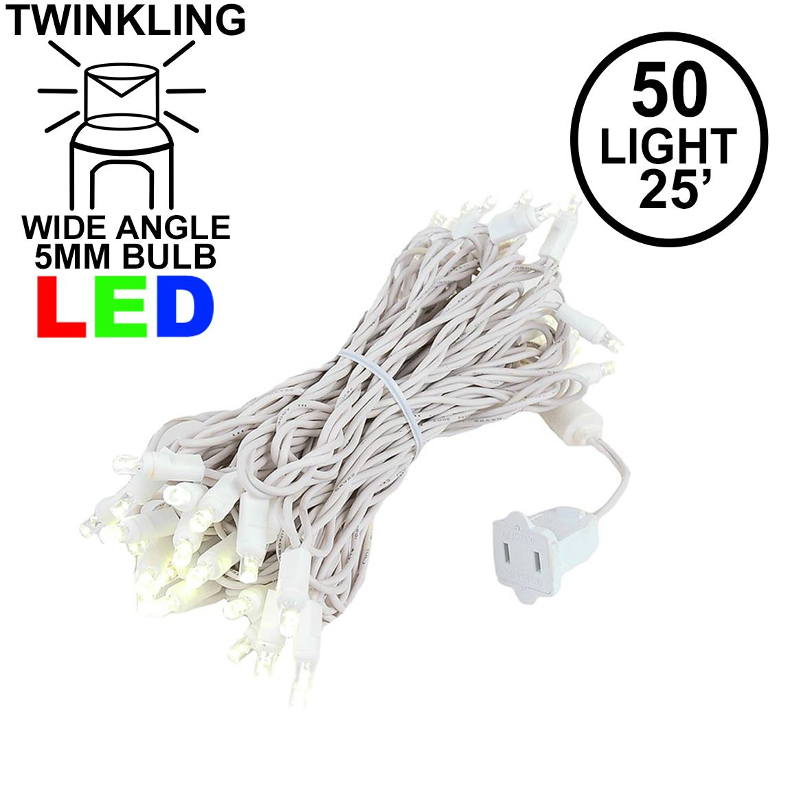 Picture of Twinkle LED Christmas Lights 50 LED Warm White 25' Long White Wire