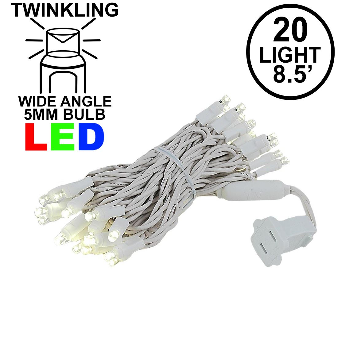 Picture of LED Curtain Twinkle Lights 20 LED Warm White Non-Connectable White Wire