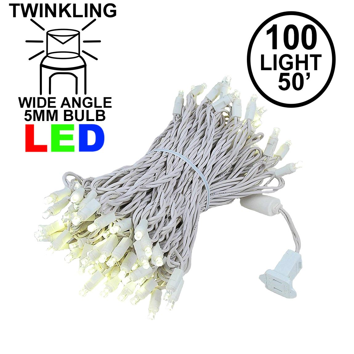 Picture of LED Curtain Twinkle Lights 100 LED Warm White Non-Connectable White Wire