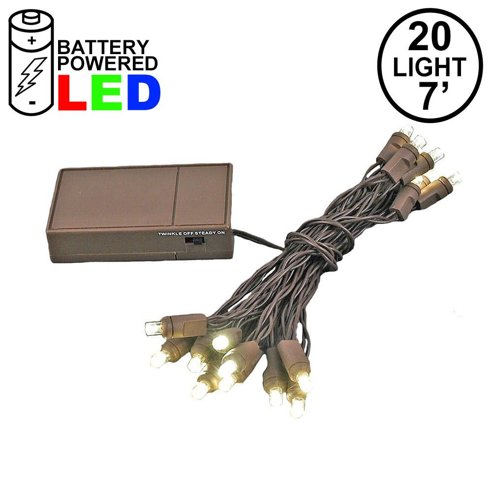 Picture of 20 LED Battery Operated Lights Warm White Brown Wire