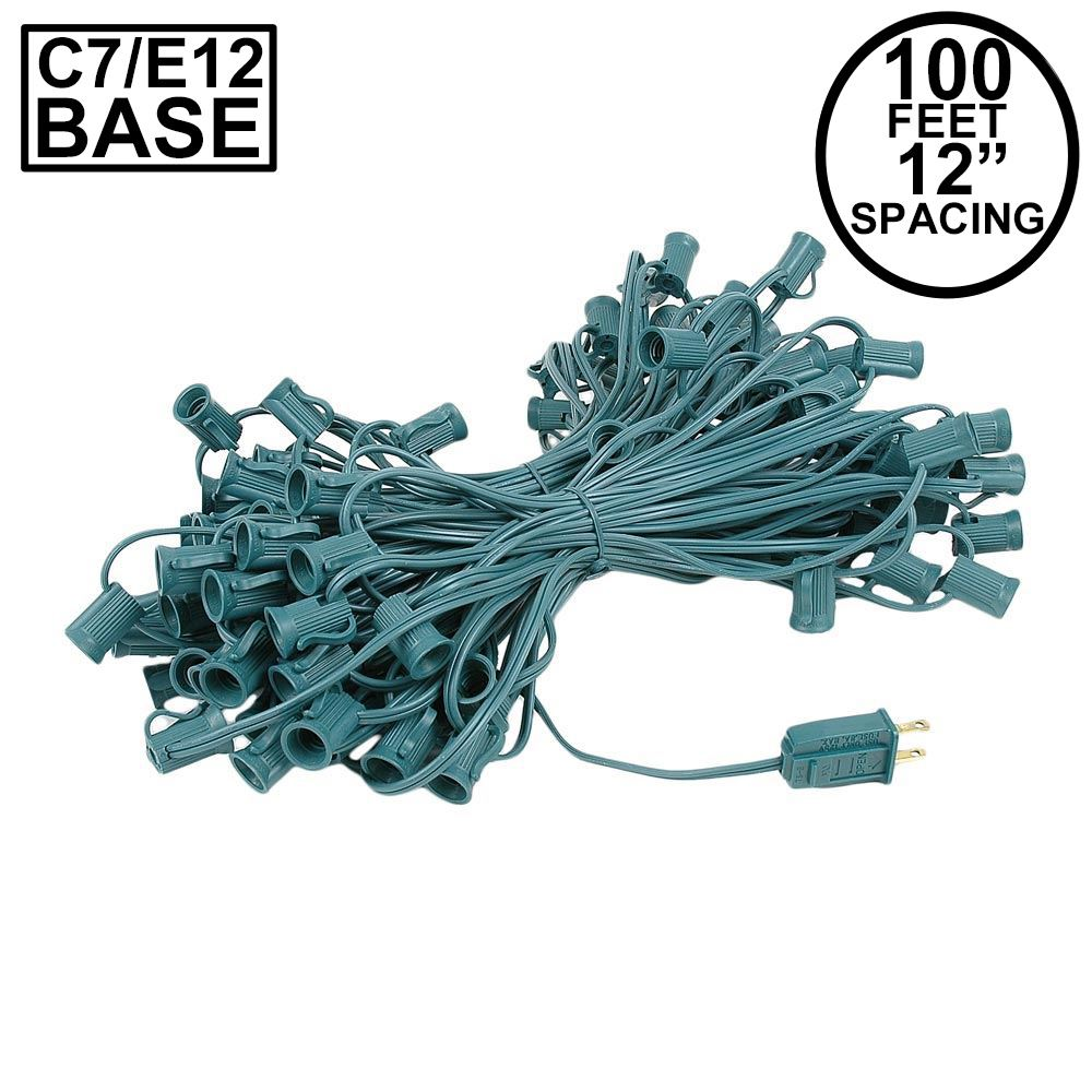 Picture of C7 100' String on Green Wire, 100 Sockets