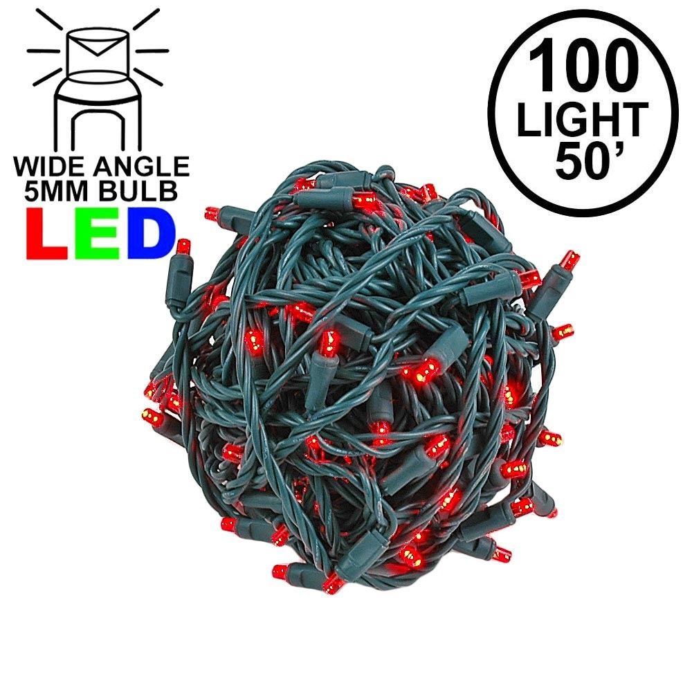 "Picture of Coaxial 100 LED Red 6"" Spacing Green Wire"
