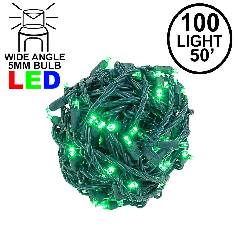 "Picture of Coaxial 100 LED Green 6"" Spacing Green Wire"