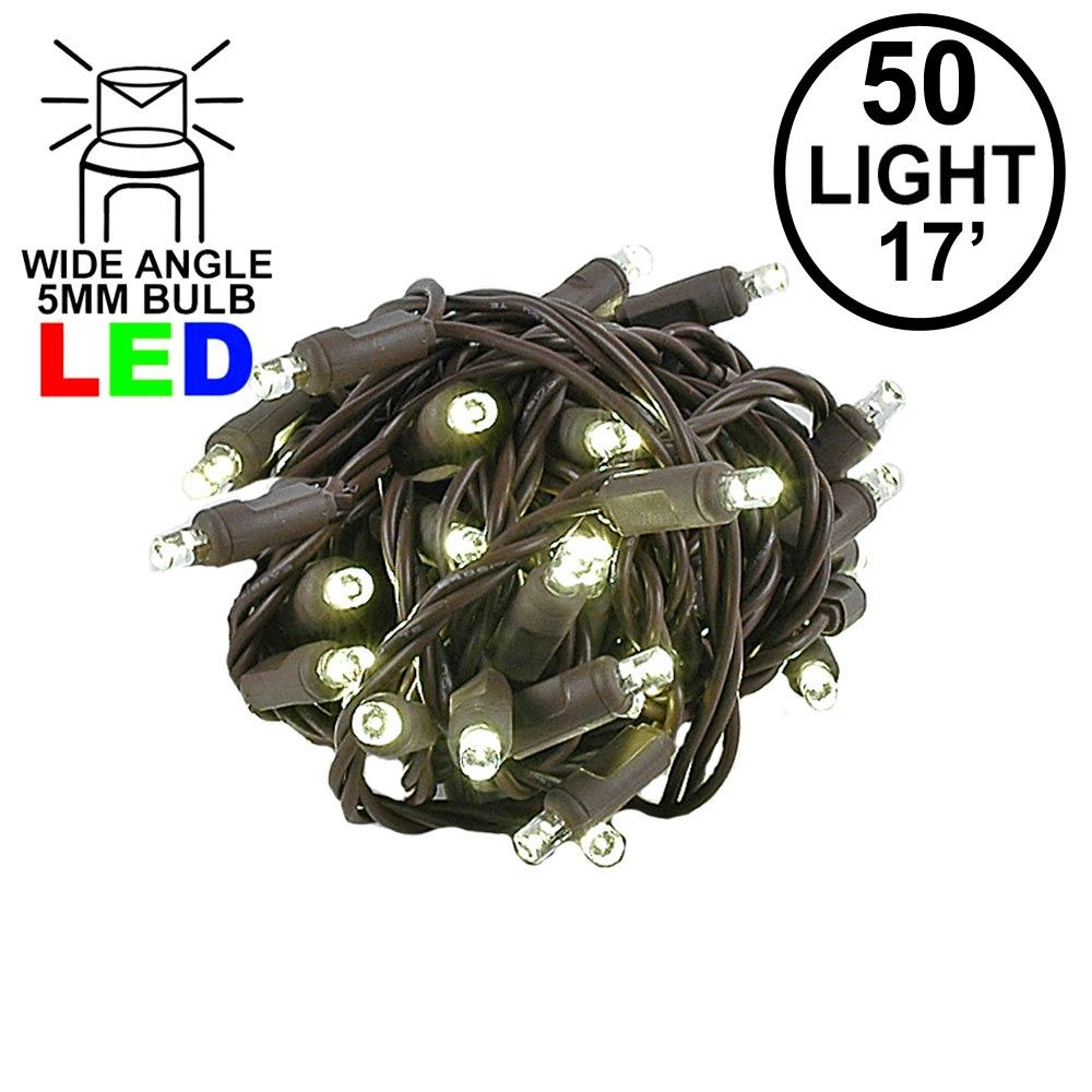 "Picture of Coaxial 50 LED Warm White 4"" Spacing Brown Wire"