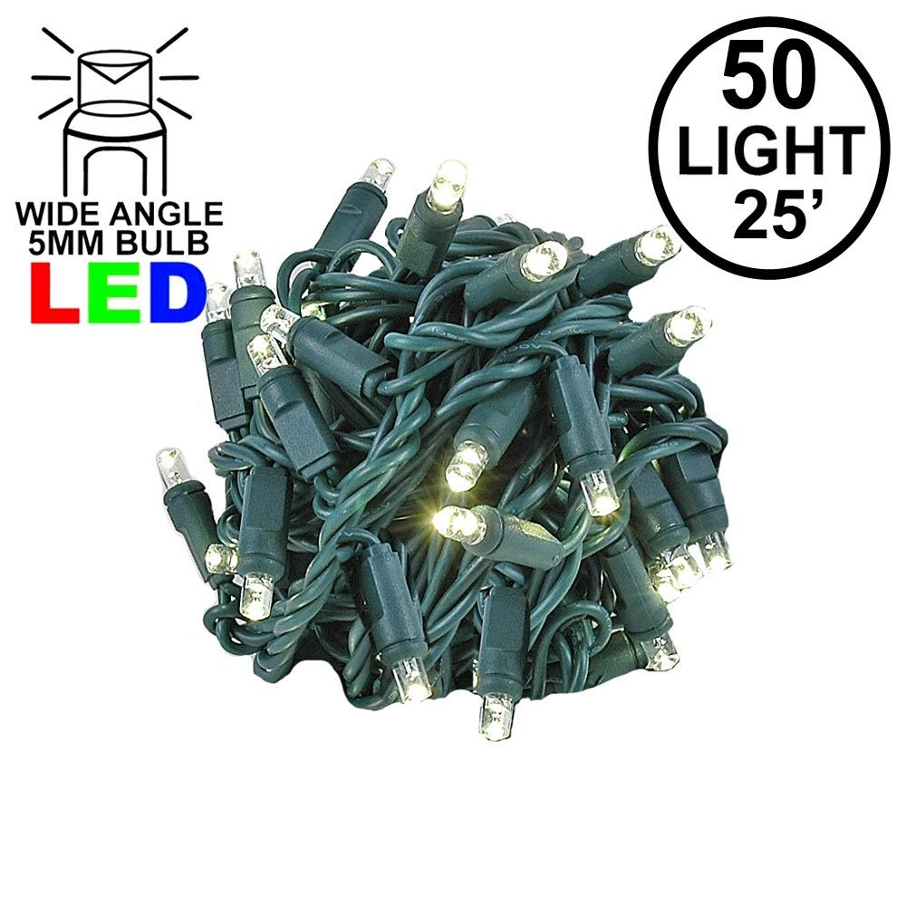 """Picture of Coaxial 50 LED Warm White 6"""" Spacing Green Wire"""