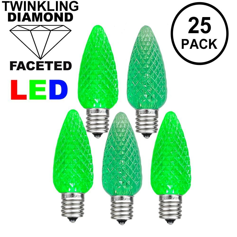 Picture of Twinkle Green C7 LED Replacement Bulbs 25 Pack