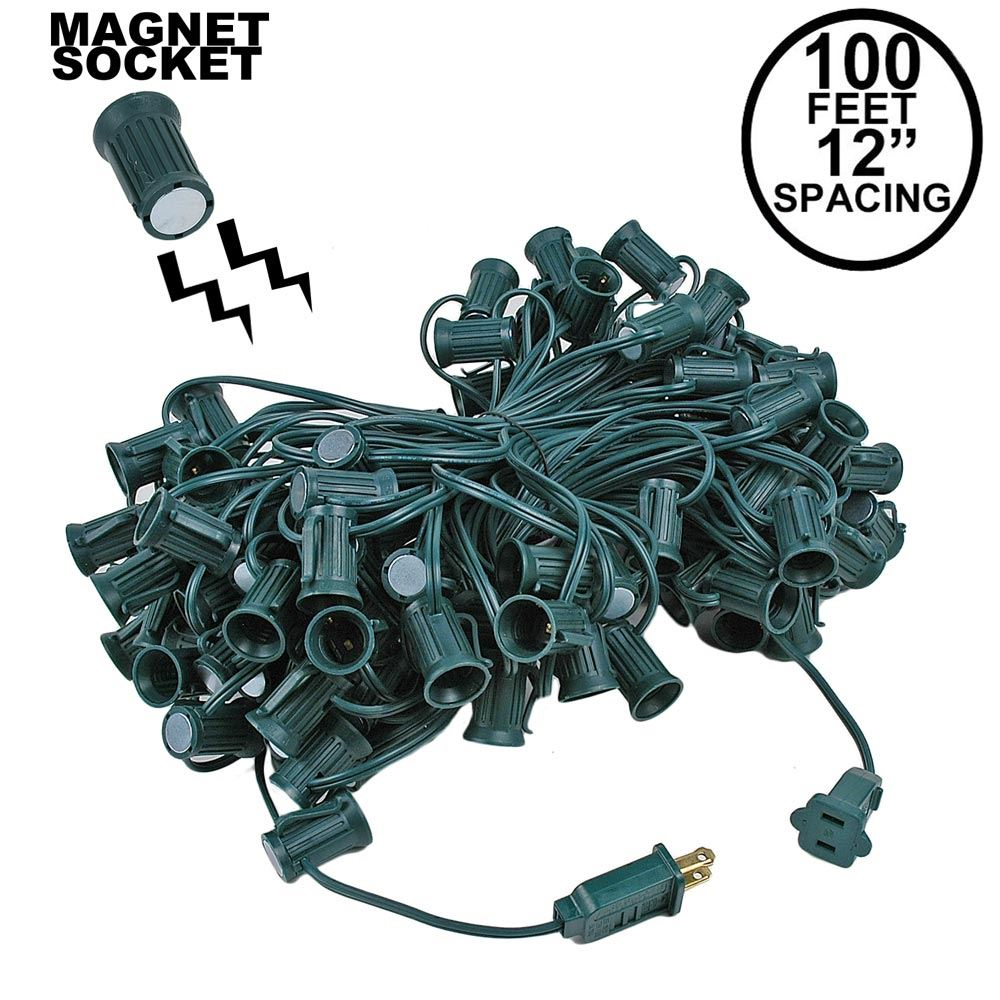 """Picture of C9 Magnetic 100' Stringers 12"""" Spacing Green Wire"""