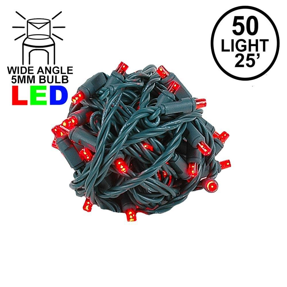 "Picture of Coaxial 50 LED Red 6"" Spacing Green Wire"