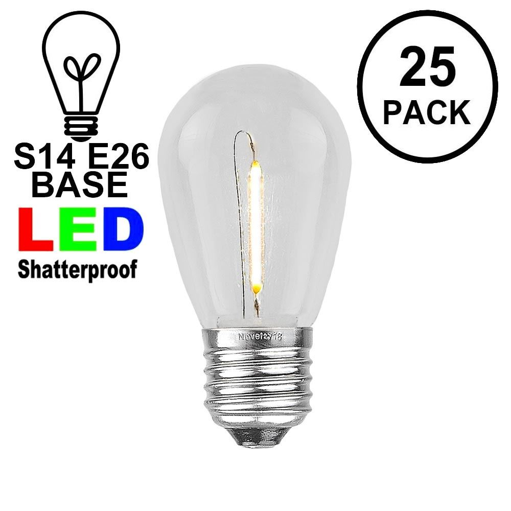 Picture of Warm White S14 LED Plastic Filament Medium Base e26 Bulbs  - 25pk