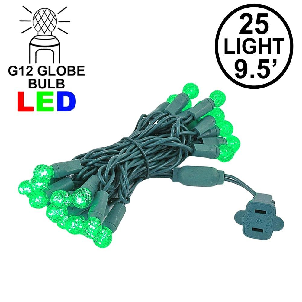 "Picture of G12 25 LED Green 4"" Spacing Green Wire"