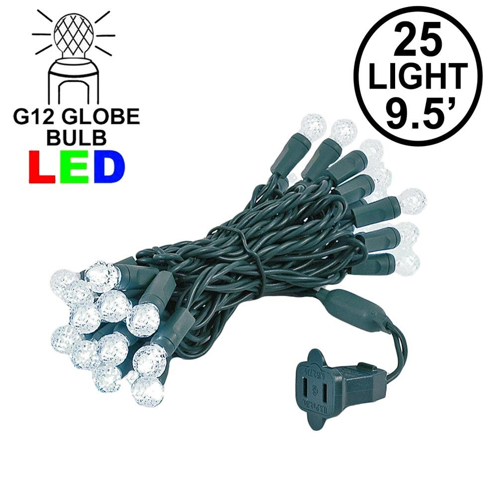 "Picture of G12 25 LED Pure White 4"" Spacing Green Wire"