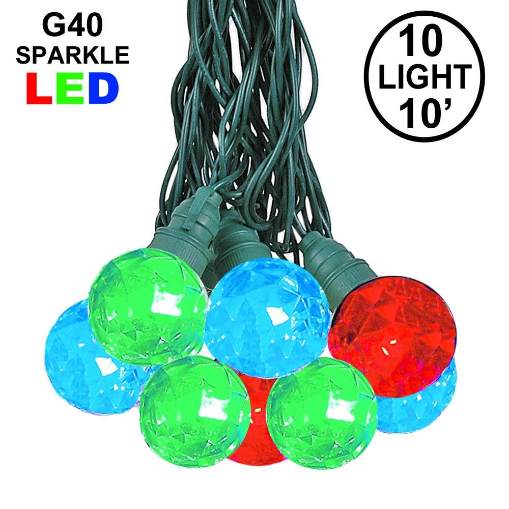 Picture of 10 Multi Sparkle Orb LED G40 Pre-Lamped String Lights