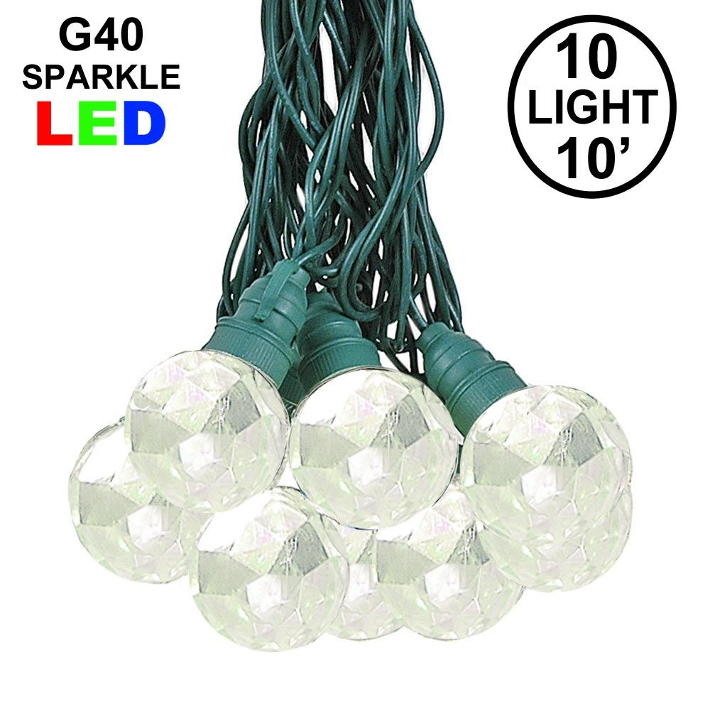 Picture of 10 Warm White Sparkle Orb LED G40 Pre-Lamped String Lights
