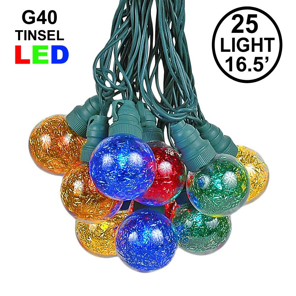 Picture of 25 Multi Tinsel LED G40 Pre-Lamped String Lights **ON SALE**