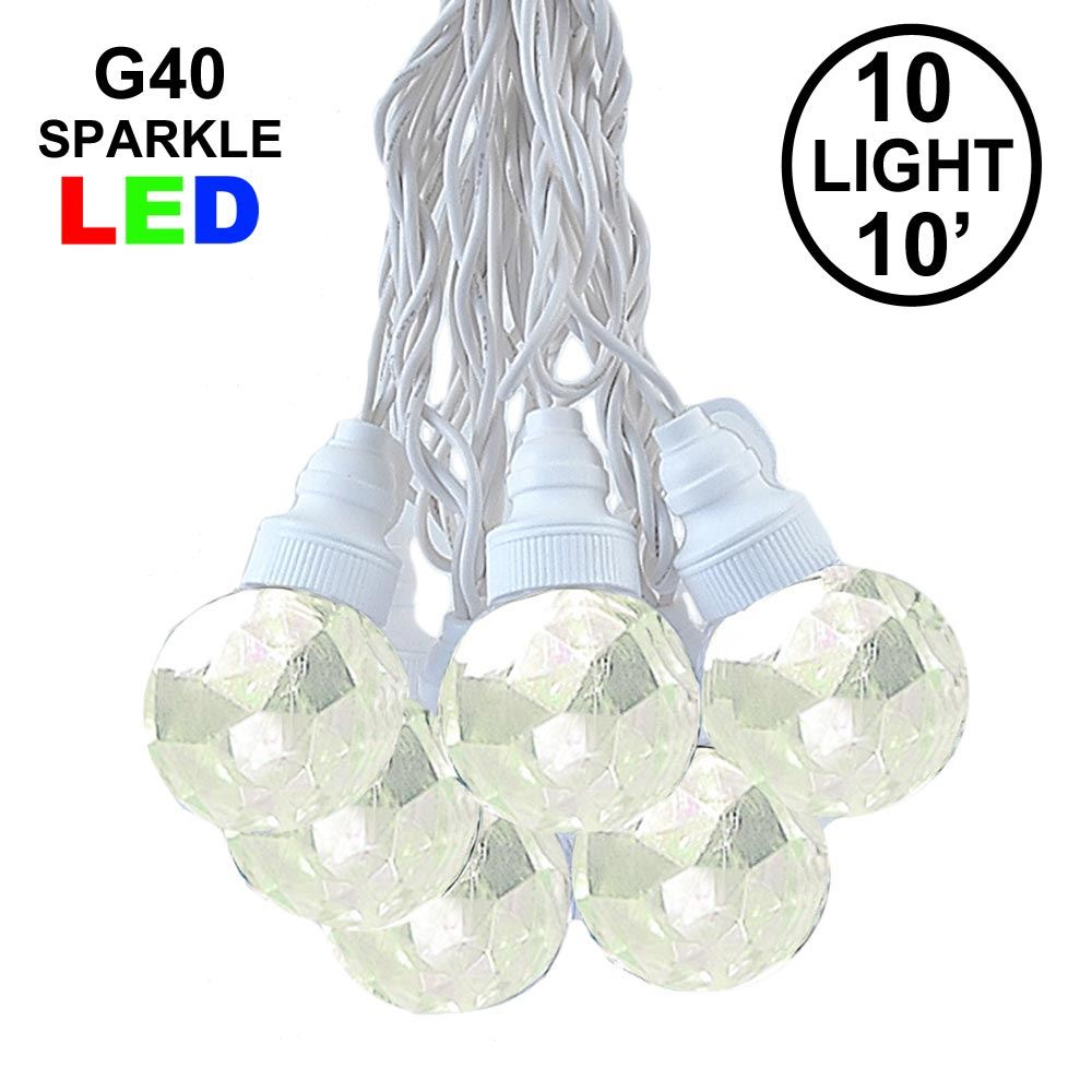 Picture of 10 Warm White Sparkle Orb LED G40 Pre-Lamped String Lights White Wire