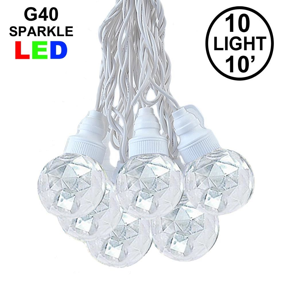 Picture of 10 Pure White Sparkle Orb LED G40 Pre-Lamped String Lights White Wire