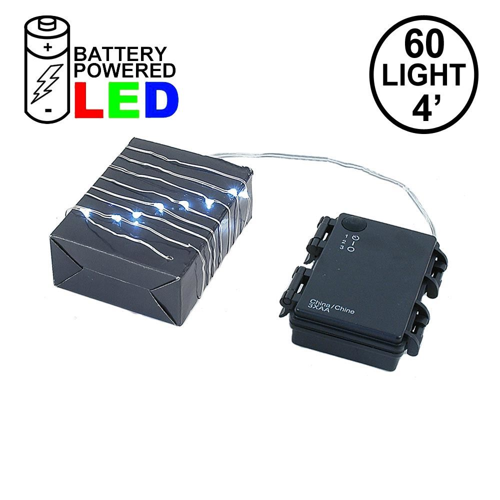 Picture of Battery Operated LED Micro Fairy Light Set 60 Light Pure White***On Sale***
