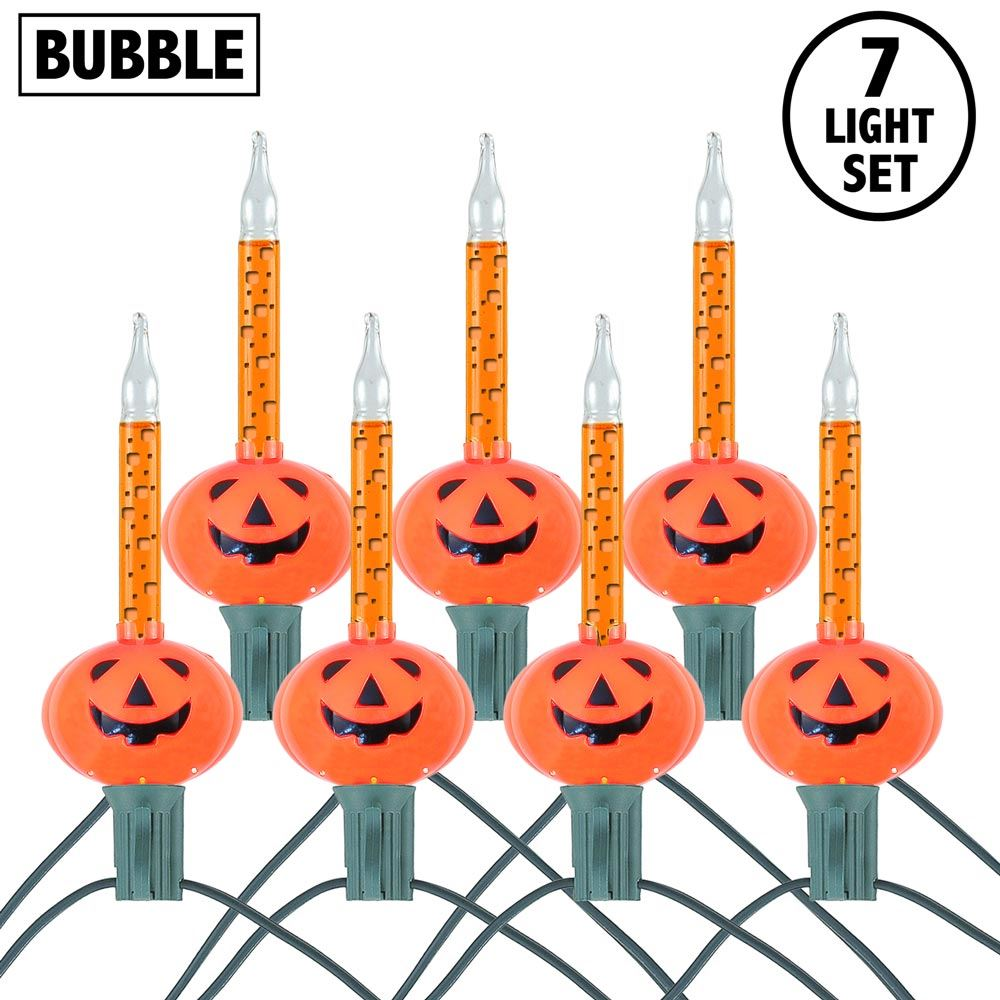 Picture of Orange Pumpkin Halloween Bubble Light Set