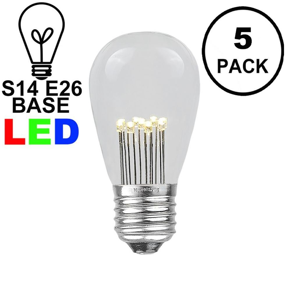 Picture of Warm White S14 LED Medium Base e26 Bulbs w/ 9 LEDs - 5pk