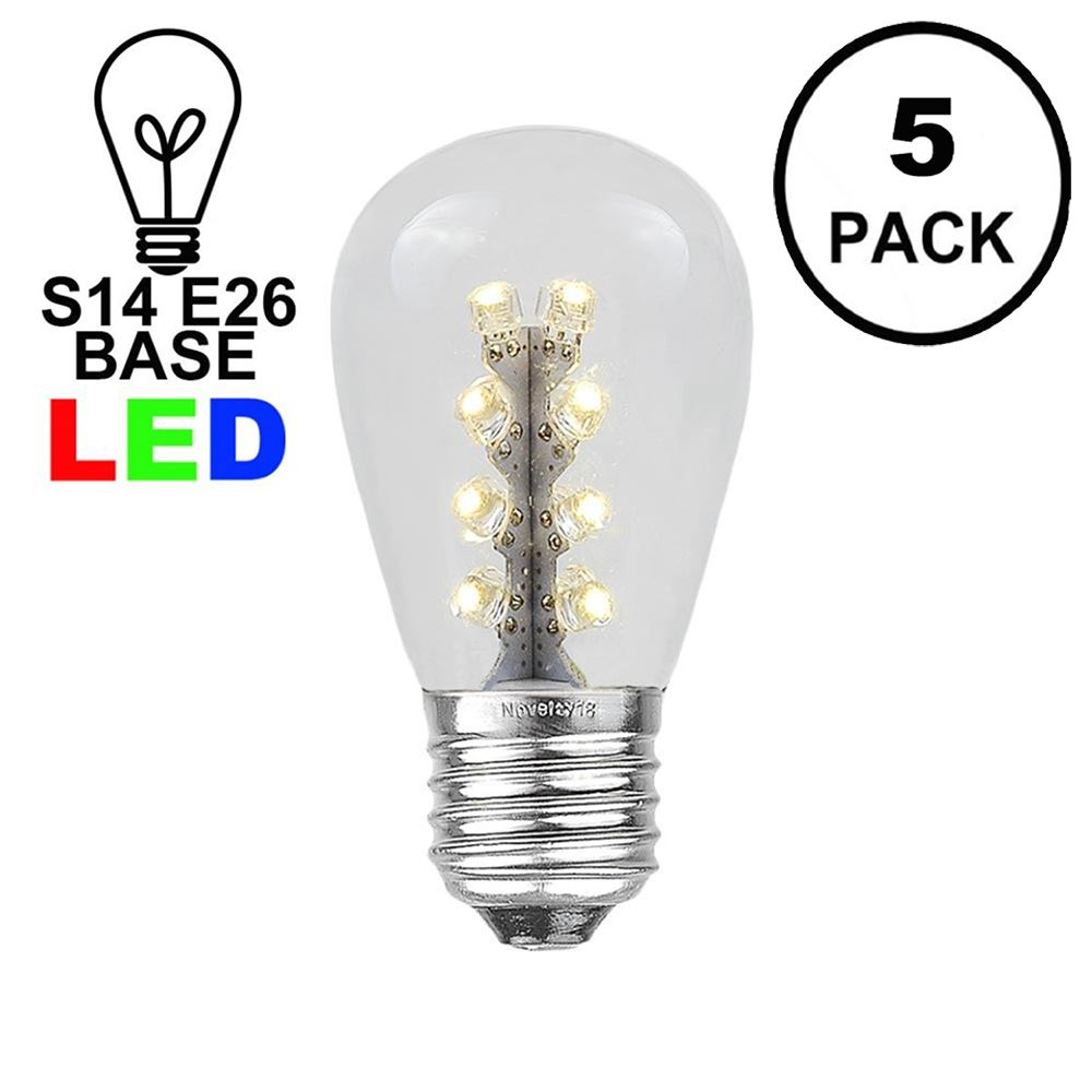 Picture of Warm White S14 LED Medium Base e26 Bulbs w/ 16 LEDs - 5pk