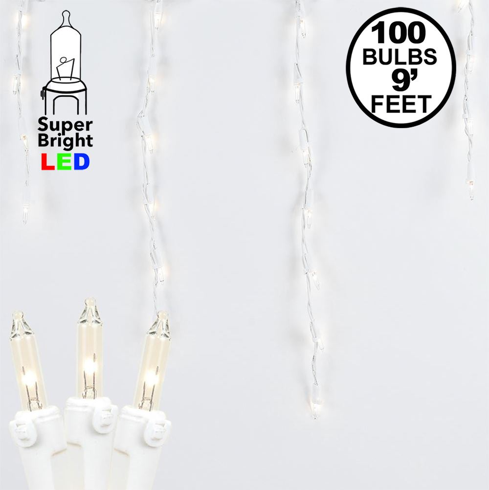 Picture of Clear 100 Light Icicle Lights White Wire Long Drops