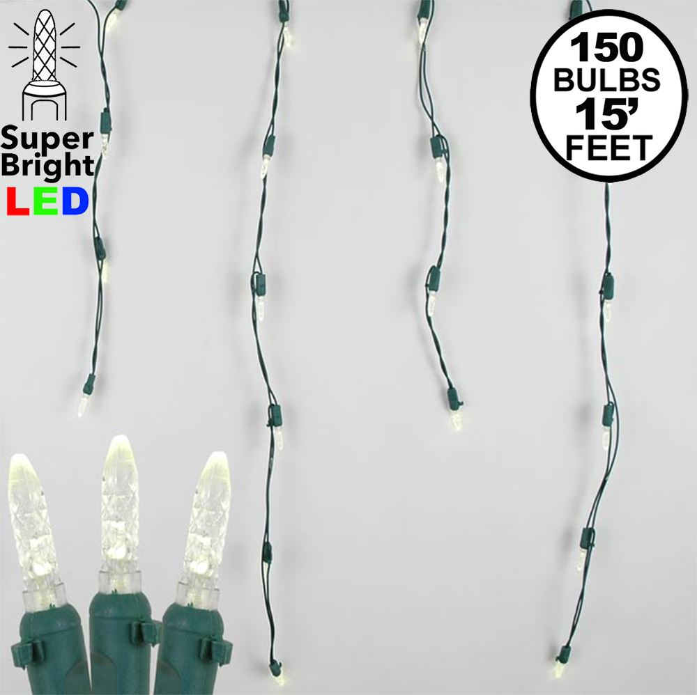 Picture of Warm White LED Icicle Lights on Green Wire 150 Bulbs