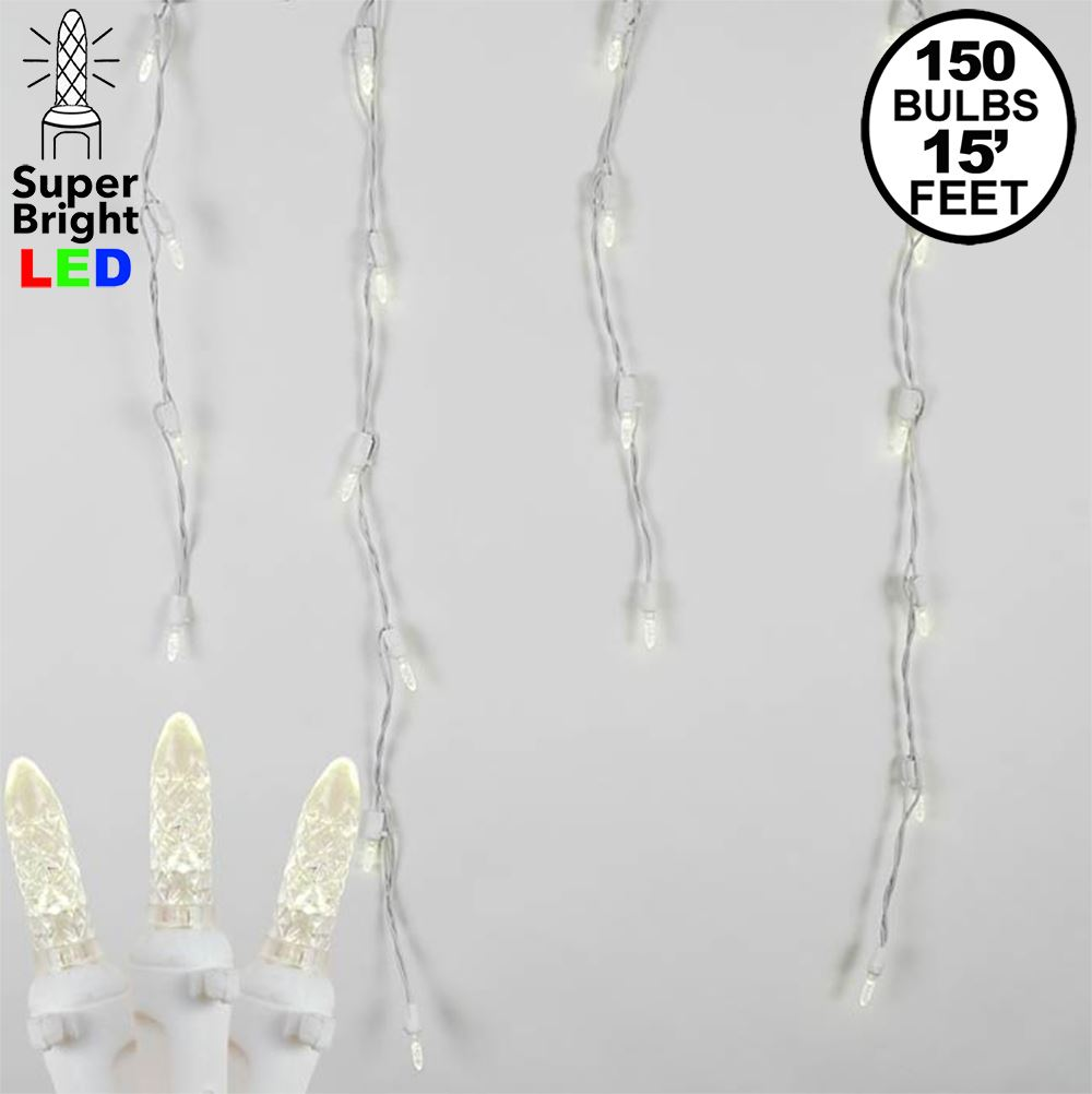 Picture of Warm White LED Icicle Lights on White Wire 150 Bulbs