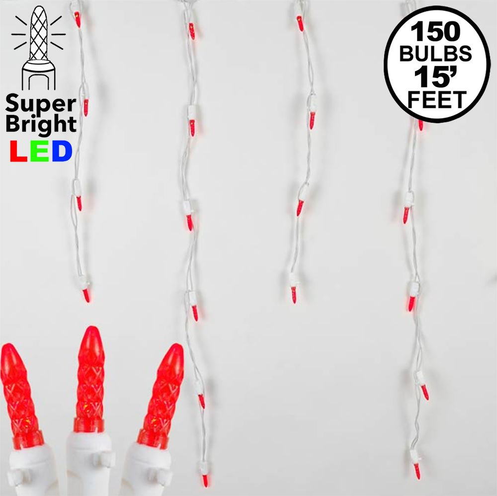 Picture of Red LED Icicle Lights on White Wire 150 Bulbs