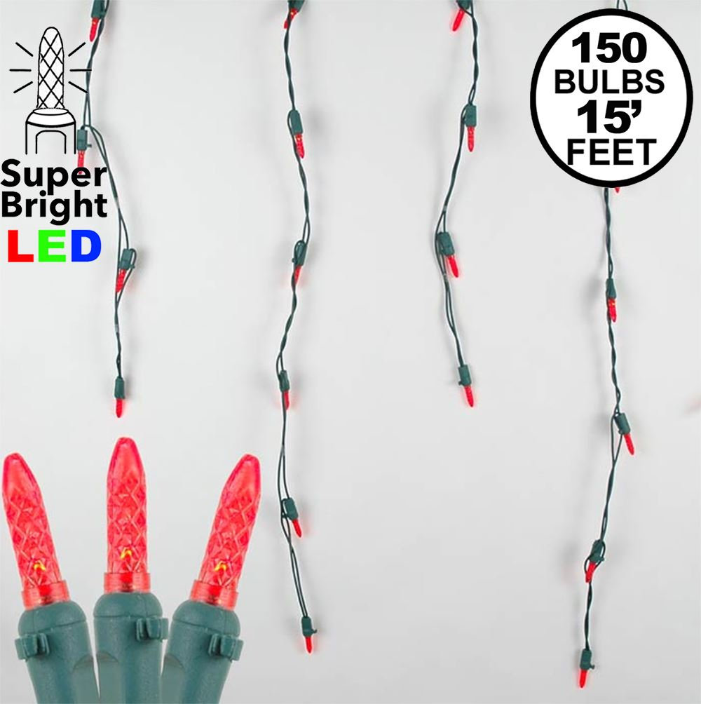 Picture of Red LED Icicle Lights on Green Wire 150 Bulbs