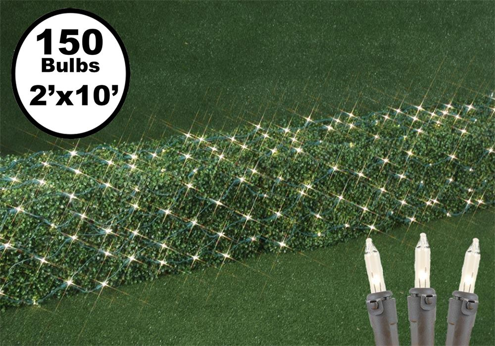 Picture of 2' x 10' Super Bright Clear Net Lights - Brown Wire