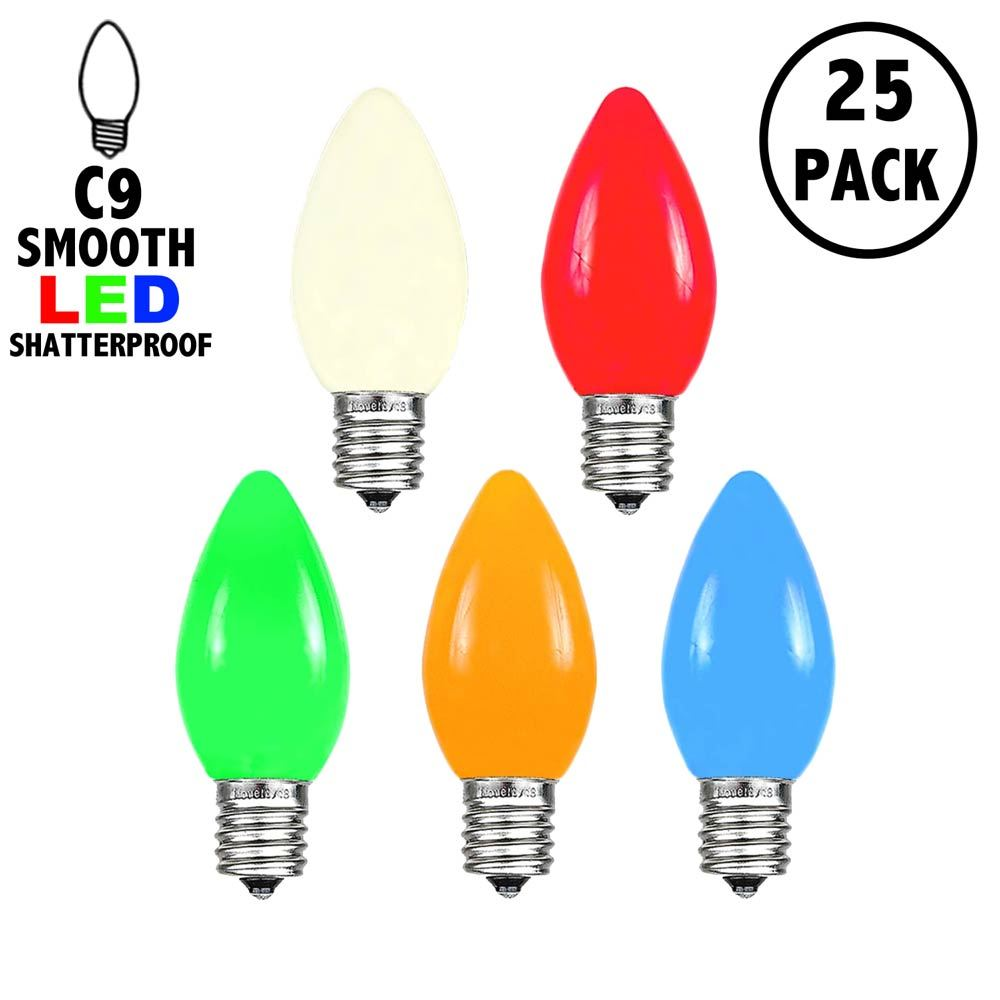 Picture of C9 - Multi Colored - Ceramic (plastic) LED Replacement Bulbs - 25 Pack