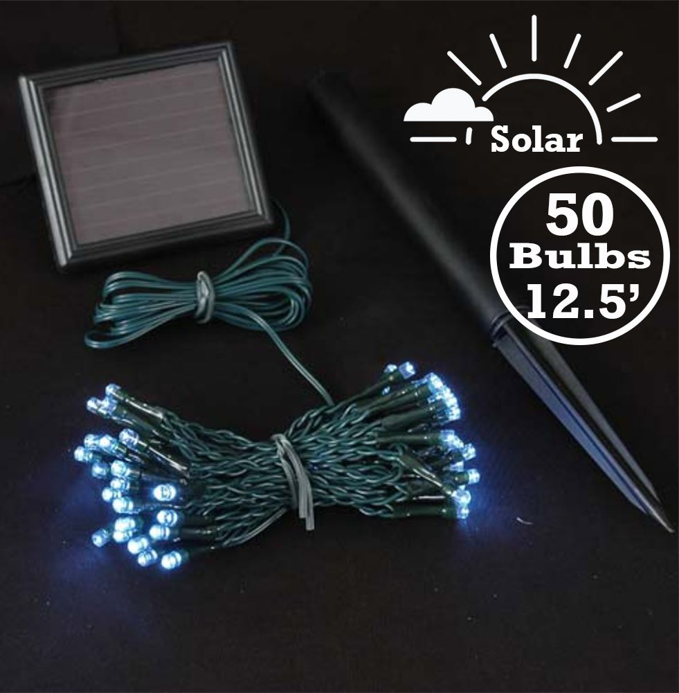 Picture of Pure White LED Solar Powered Lights 50 Light String Green Wire