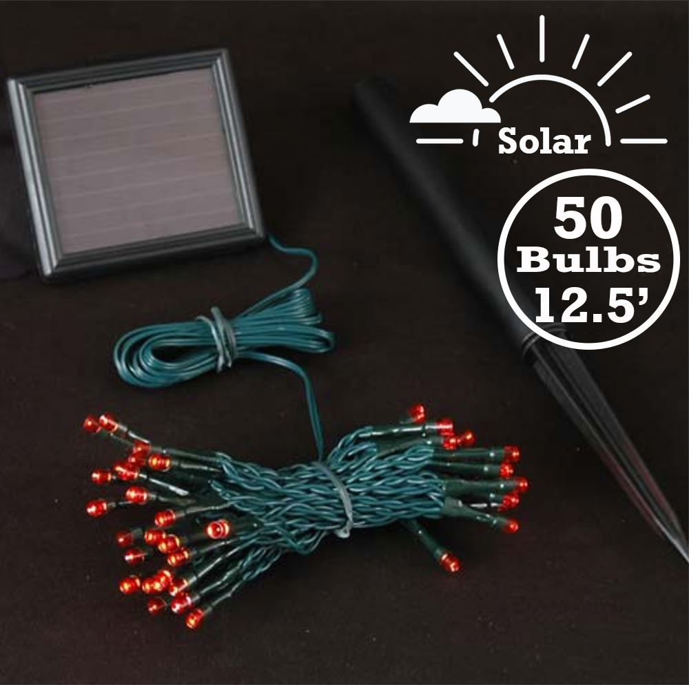 Picture of Red LED Solar Powered Lights 50 Light String Green Wire
