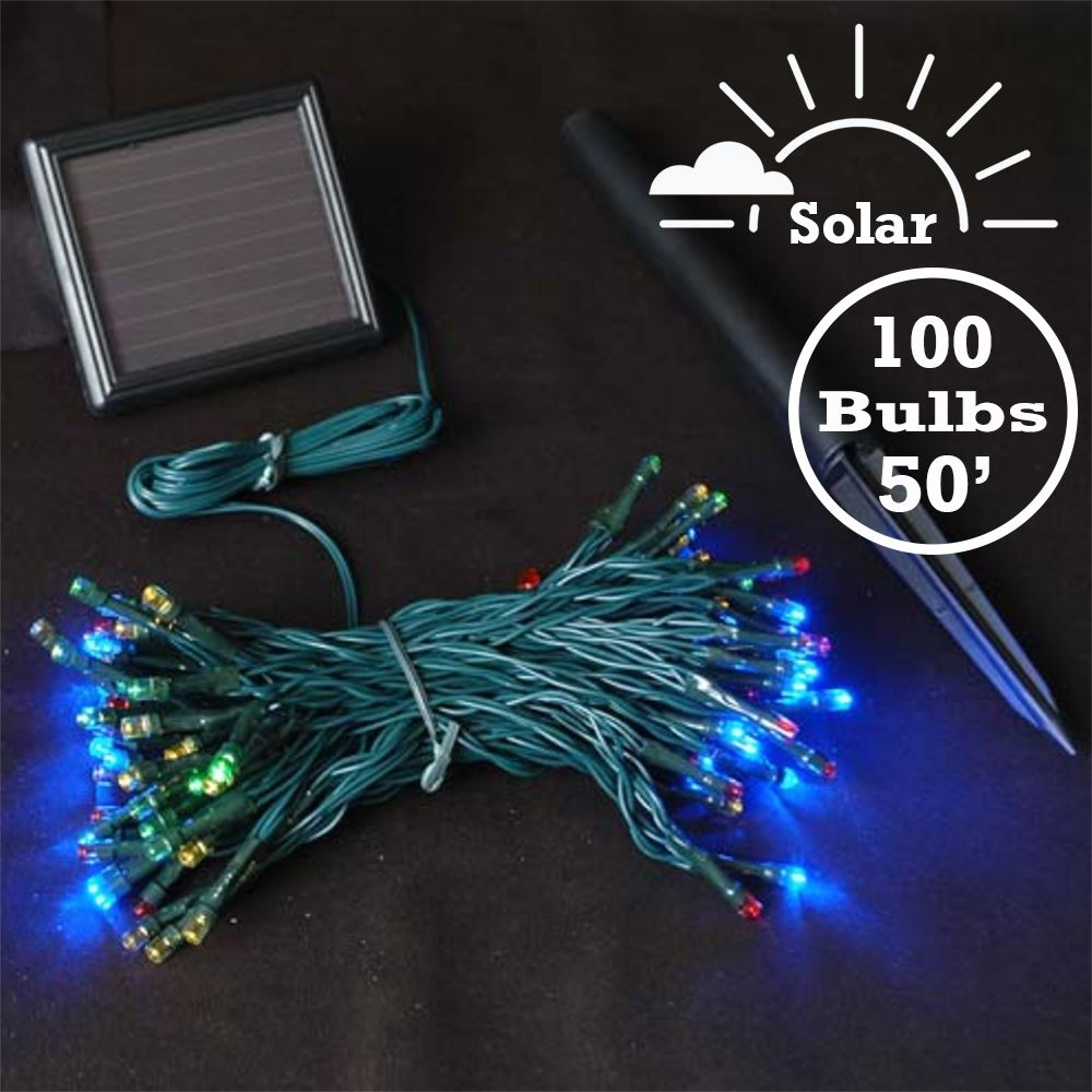 Picture of Multi Colored LED Solar Powered Lights 100 Light String Green Wire