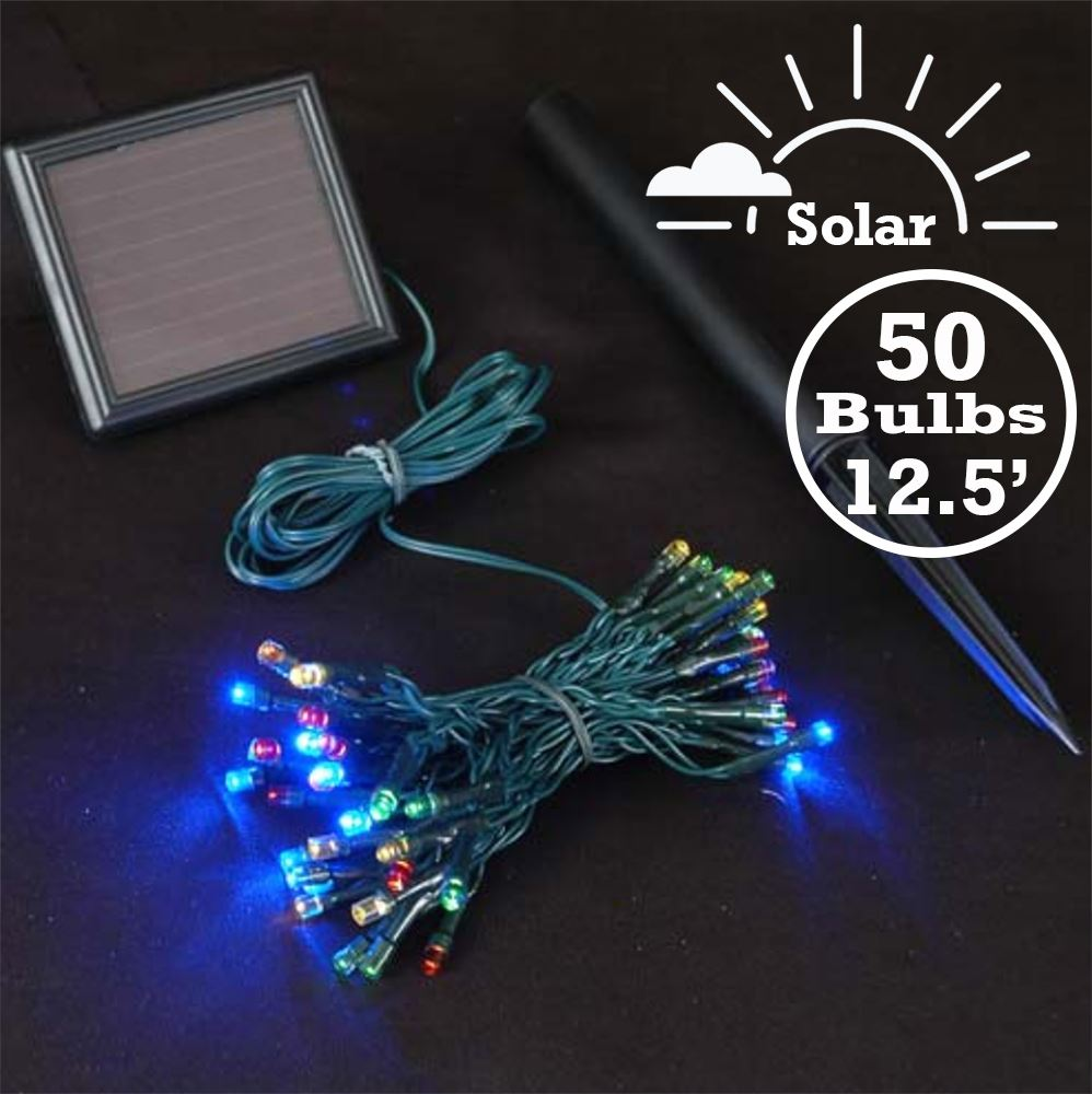 Picture of Multi LED Solar Powered Lights 50 Light String Green Wire