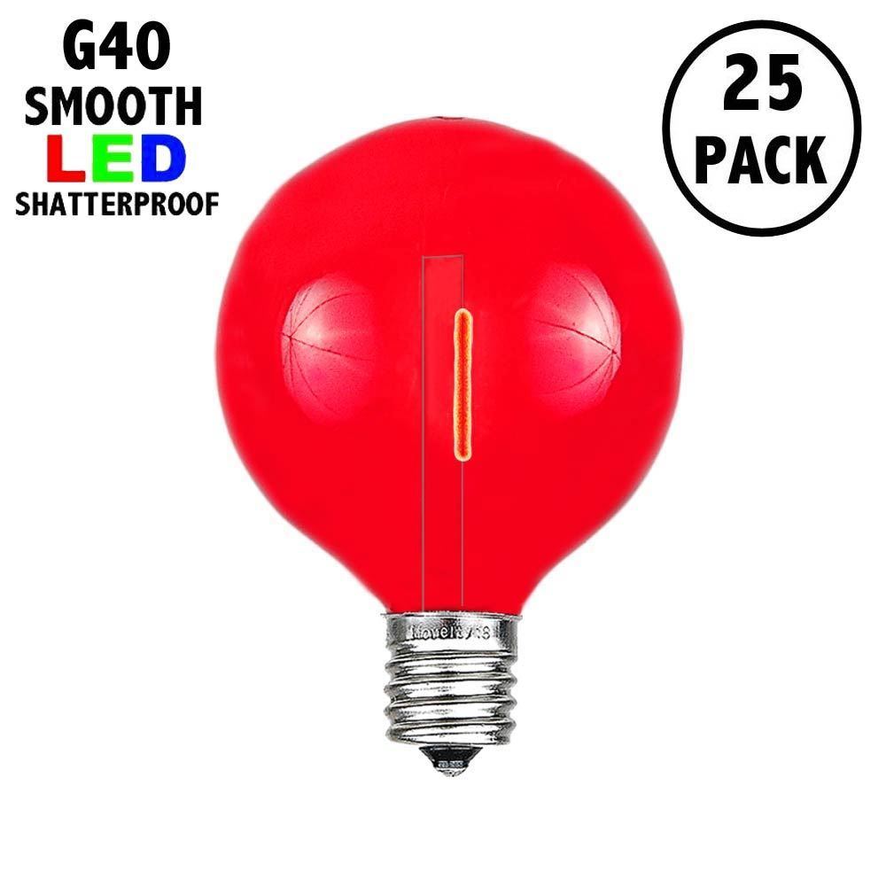 Picture of Red - G40 - Plastic Filament LED Replacement Bulbs - 25 Pack
