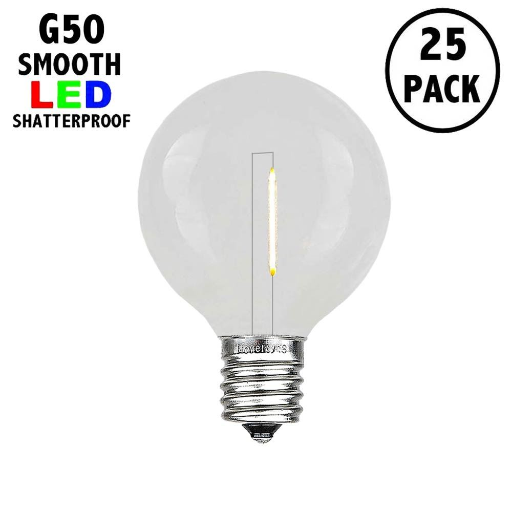 Picture of Warm White LED G50 Plastic Filament LED Globe Bulbs - 25pk