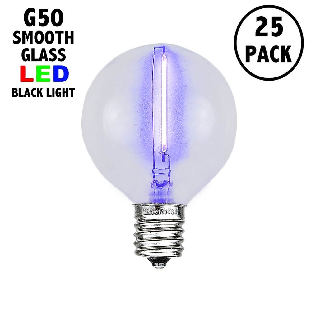 Picture of Black Light LED Filament G50 Globe Bulbs - 25pk