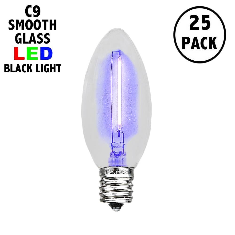Picture of Black Light C9 LED Glass Filament Replacement Bulbs 25 Pack