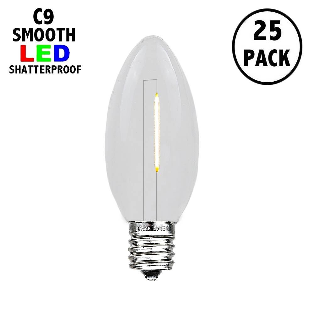 Picture of Warm White C9 LED Plastic Filament Replacement Bulbs 25 Pack