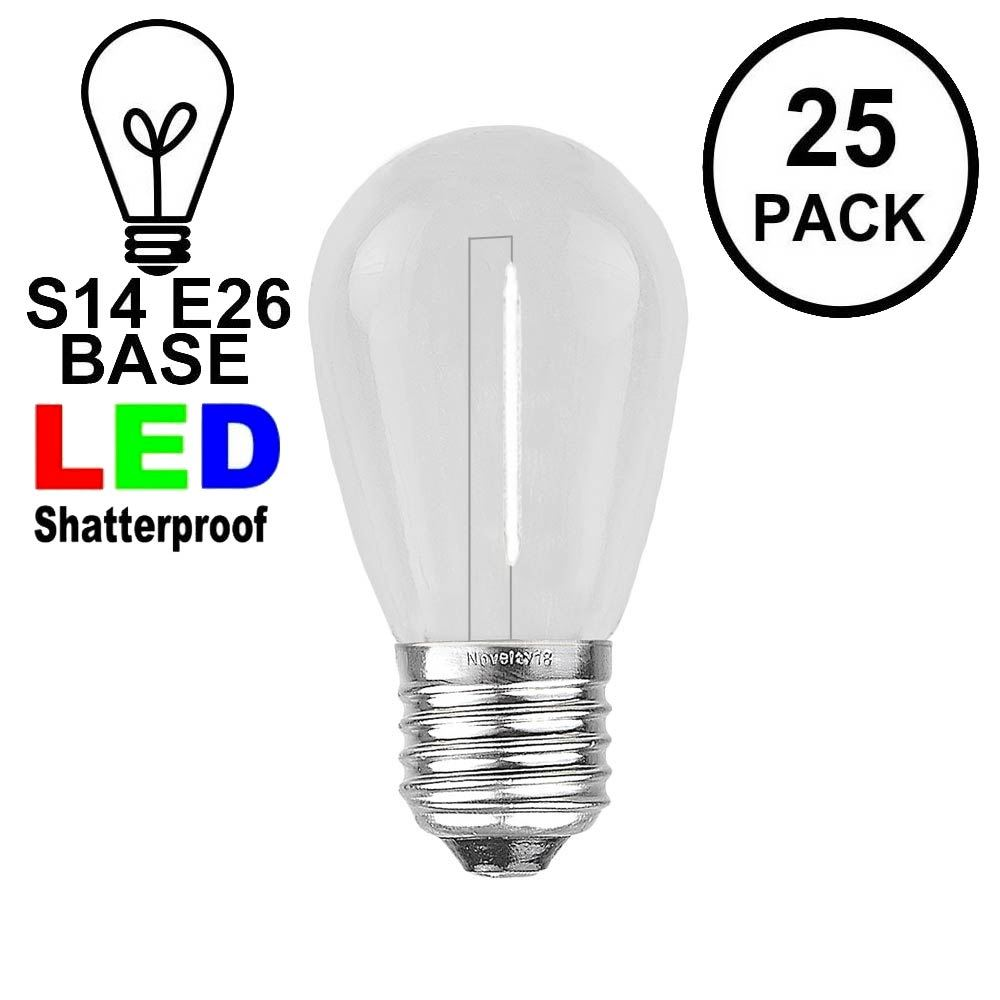 Picture of Pure White S14 LED Plastic Filament Medium Base e26 Bulbs  - 25pk