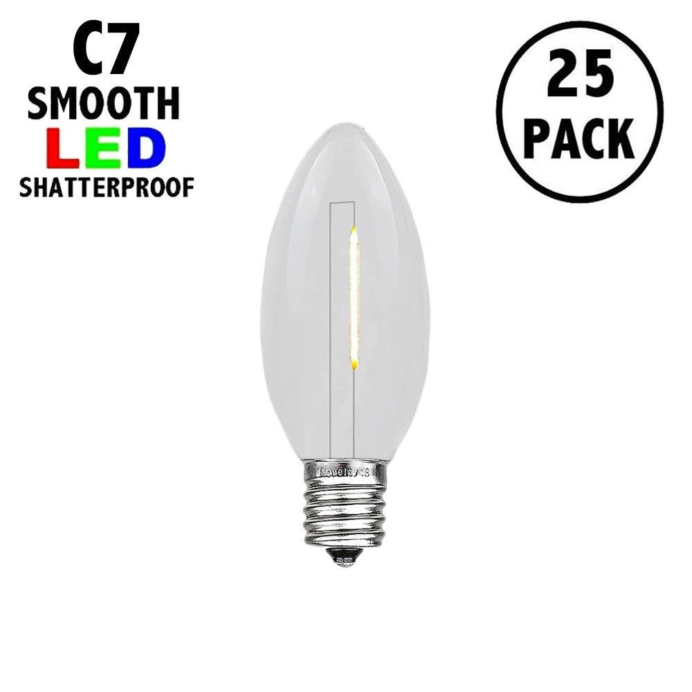 Picture of Warm White C7 LED Plastic Filament Replacement Bulbs 25 Pack
