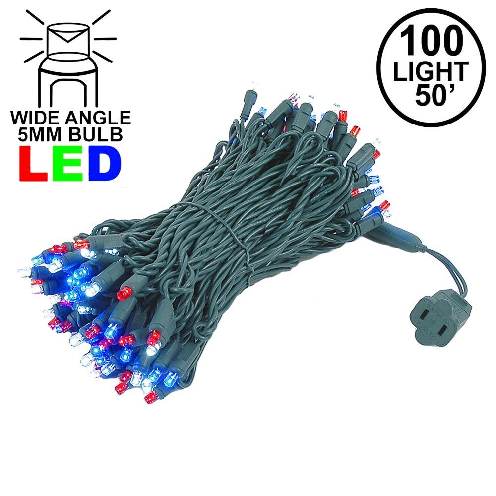 Picture of Commercial Grade Wide Angle 100 LED Red White Blue 50' Long on Green Wire