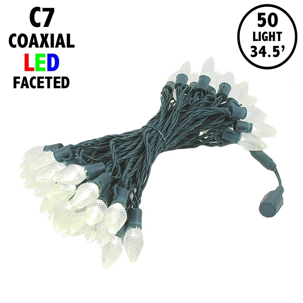 "Picture of C7 Coaxial 50 LED Warm White 8"" Spacing Green Wire"