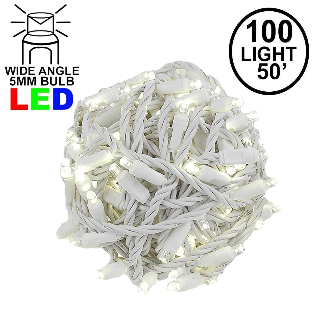 "Picture of Coaxial 100 LED Warm White 6"" Spacing White Wire"