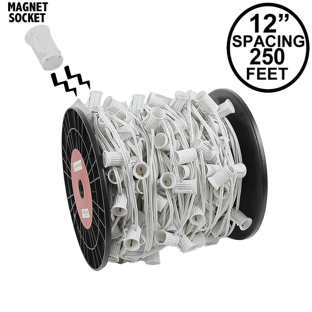 "Picture of C9 Magnetic 250' Spool 12"" Spacing White Wire"