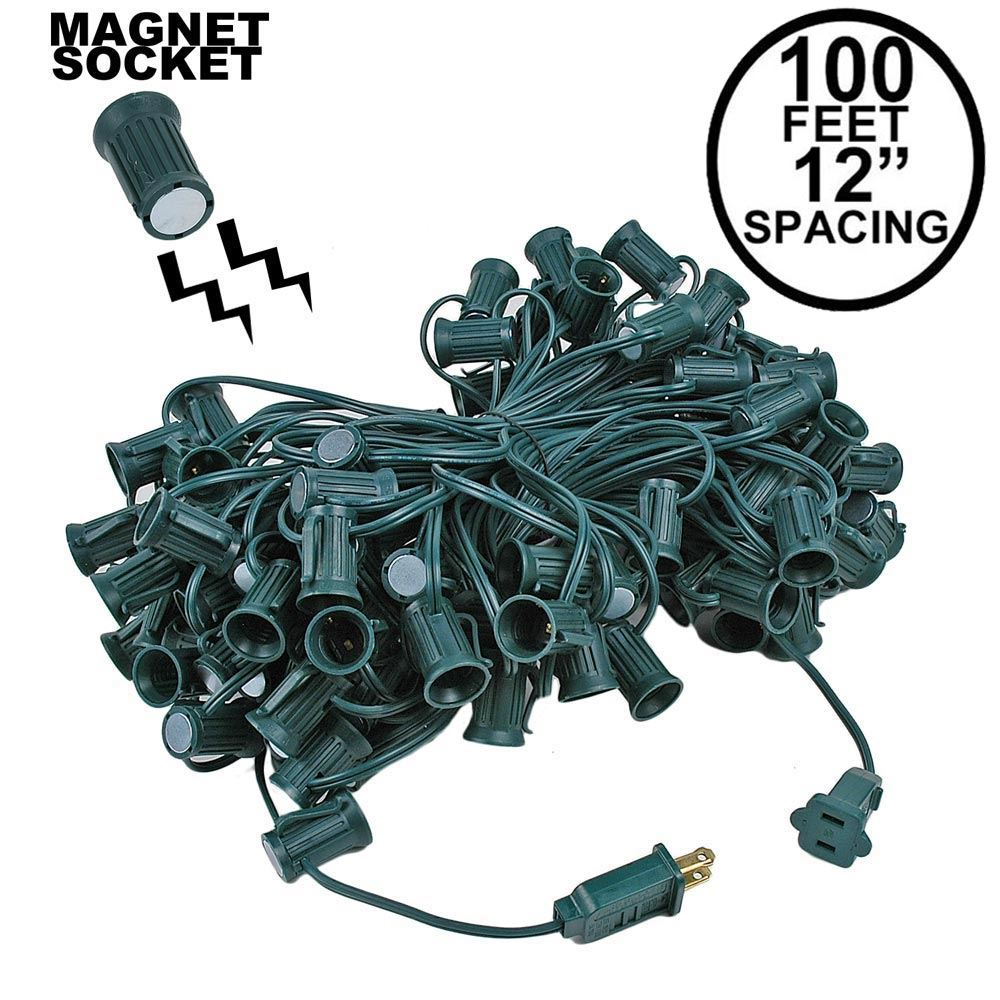 "Picture of C9 Magnetic 100' Stringers 12"" Spacing Green Wire"
