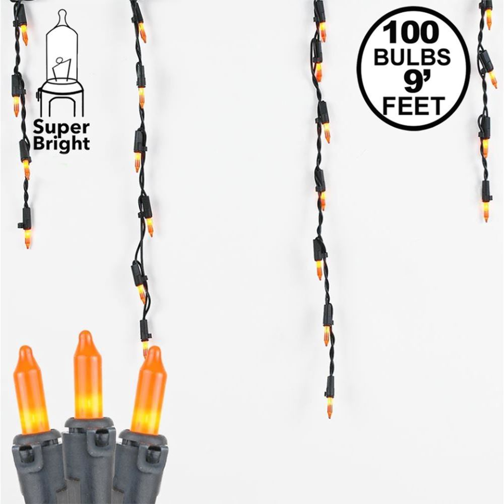 Picture of Frosted Orange 100 Light Icicle Lights Black Wire Medium Drops