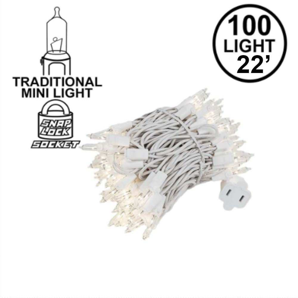 Picture of 100 Light 22' Long White Wire Christmas Mini Lights