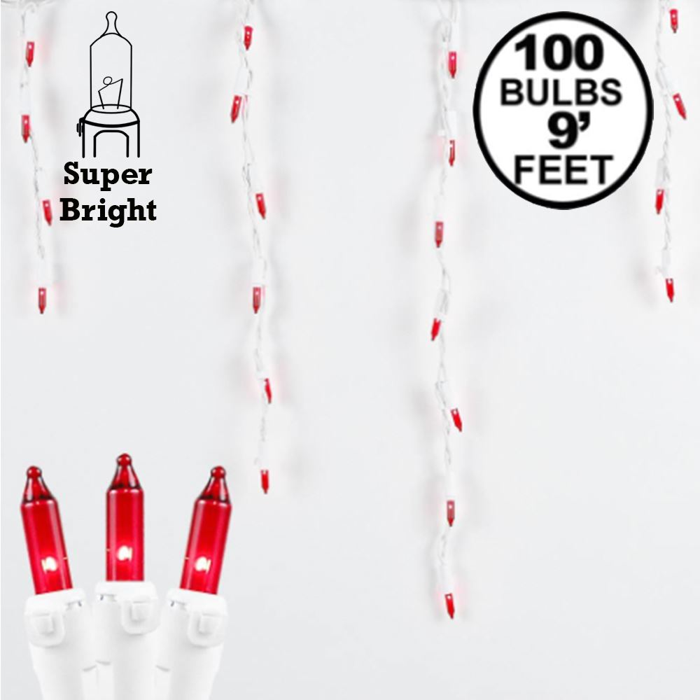 Picture of Red 100 Light Icicle Lights White Wire Medium Drops